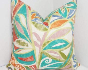 OUTDOOR Pillow Cover Turquoise Red Green Blue Orange Floral Design Patio Deck Pillow 18x18