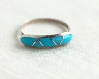Zuni Turquoise Ring Band Size 6 Vintage Southwestern Stacking Ring Blue Geometric Jewelry