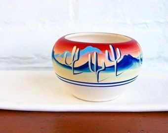 Vintage Southwestern Pottery Small Cactus Desert Landscape Pot Vase Hand Painted New West 1991 Neon Vista