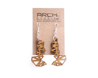 wood jewelry - Bamboo Triangle Cluster Earrings - 1 Ply.  modern geometric laser cut. eco friendly