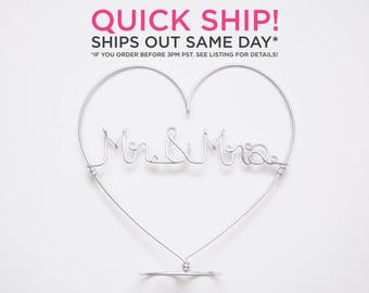 QUICK SHIP / Ships Same Day / Mr & Mrs Cake Topper / Romantic Cake Topper / Wire Cake Topper / Wedding Cake Topper / Cute Wedding Topper