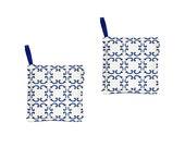 Set of 2 potholders blue waterproof cotton