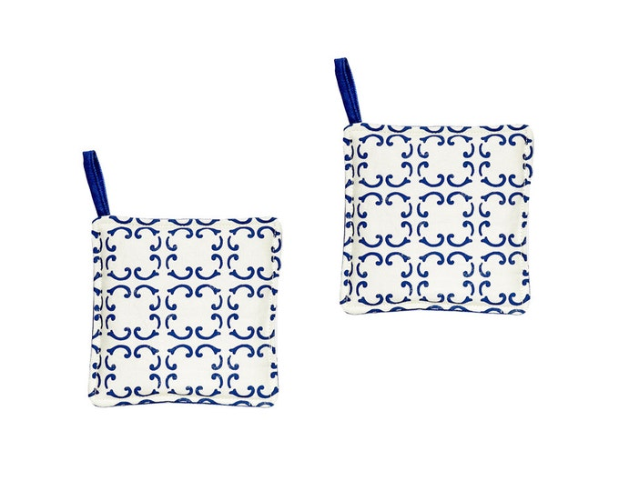 Featured listing image: Set of 2 potholders blue waterproof cotton