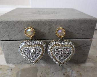 Vintage Goldtone Sequined Heart Earings