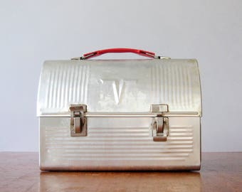 """Vintage """"V"""" Thermos Aluminum Dome Top Lunchbox"""