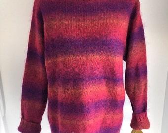 Vintage Lizwear Mohair Wool Blend Roll Neck Striped Sweater, Size Medium, NWT