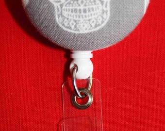 Skull Fabric Button ID Retractable Badge Holder