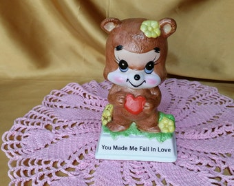 "Vintage Russ Berrie #816 ""You Made Me Fall in Love"" Bear figurine *eb"