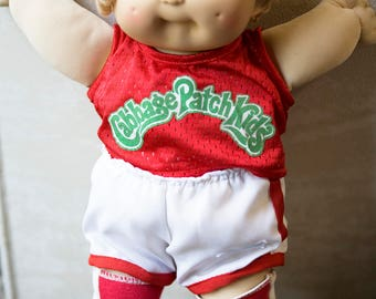 Vintag Cabbage Patch Boy Doll, Blonde Hair and Blue Eyes, Sporty Cabbage Patch, Coleco 1985 Doll, Cabbage Patch with Jersey, Boy Doll