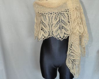 Golden Hand Knit Lace Shawl, Knit Lace Wedding Shawl, Woman's Hand Knitted Shawl, Gold Lace Shawl, Mohair Hand Knitted Shawl