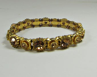Vintage RHINESTONE Cuff BRACELET Gold Tone Metal & Brown Faceted Stone Stretch Jewelry