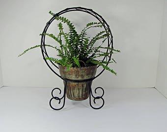 Vintage VERDIGRIS TOPIARY PLANTER Rustic Brass & Copper Pot Metal Wire Cage Garden Tabletop Patio