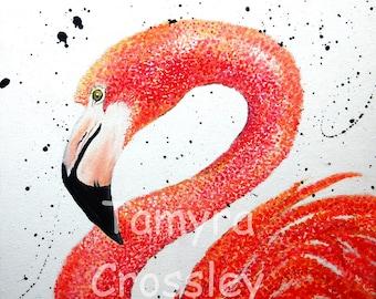 Flamingo Swim Pointillism Acrylic Original Painting.  Pink, coral, orange, profile, bird, color, art, image, canvas, paint, #16?FPS/D/F