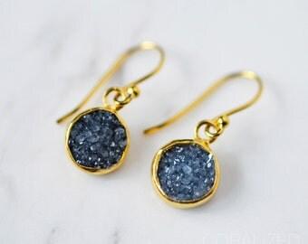 Small Gray-Black Druzy Earrings, Gold Druzy Earrings, Small Gold Earrings, Black Druzy Earrings