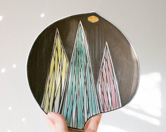 Vintage Geometric Pastel Studio Pottery Dish // Upsala Ekeby Sweden // Mid Century Christmas Gifts