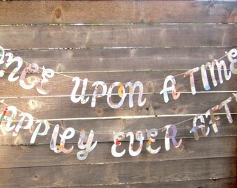 Fairy Tale Party, Banner, Once Upon a Time Banner, Clock Shape, Happily Ever After Banner, Fairy Tale Theme, Choose One or Two Banners