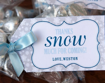 Winter Onederland Favor Tags - Winter Onederland Boy Thank You Tags - First Birthday - DIY Printable Tags Name Editable in Acrobat Reader