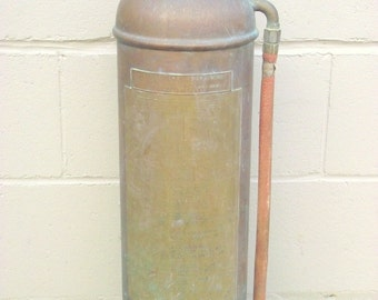 Fire Extinguisher COPPER and BRASS Industrial Chic - Soda Acid - Safety Co. New York NY - Fire Engine - Firefighter Collectible