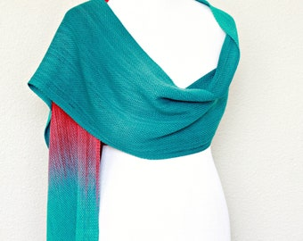Woven scarf, pashmina scarf, wool scarf women wrap gradient teal red red long scarf with fringe unisex scarf