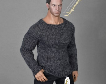 1/6th scale XXL hand knit sweater for Hot Toys TTM 20 size bigger action figures and male fashion dolls