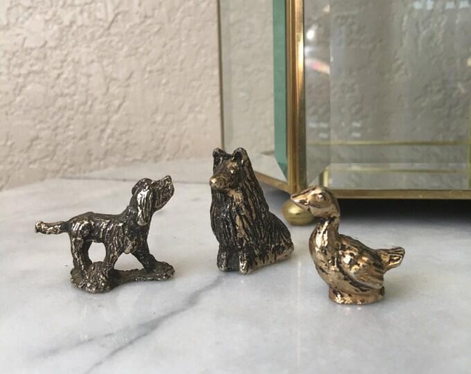 Vintage Miniature Solid Brass Animal Figurines - Spaniel, Border Collie, & Duck