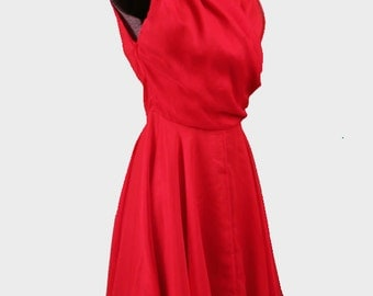 1950s Red Cocktail Dress