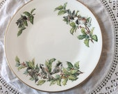 Vintage Plate Christmas serving Holiday Boehm china Birds chickadees and festive holly plate