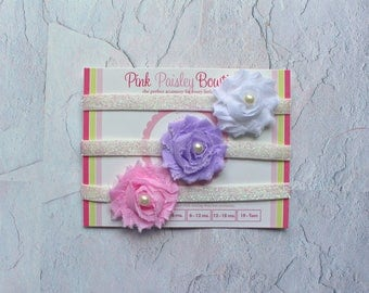 Set of 3 Mini Shabby Newborn Baby headbands set.  Infant Headband Set. Toddler Headbands. Glitter shabby bows. Baby Hairbows. Headband baby