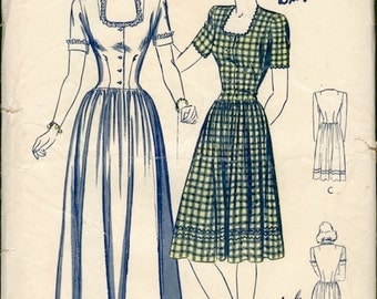 Sweet Unused Vintage 1940s Butterick 2479 WWII Style Evening Graduation Frock or Day Dress Sewing Pattern B32