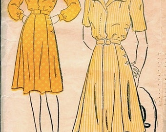 Great Vintage 1940s New York 538 Tailored Shirtwaist, Side-Button Skirt Detail Shirt Dress Sewing Pattern B30