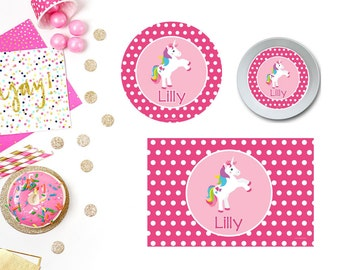 Unicorn Plate/Bowl/Placemat . Personalized Plate/Bowl/Placemat . Girls Plate/Bowl/Placemat . Polka Dot Plate/Bowl/Placemat . Custom Plate