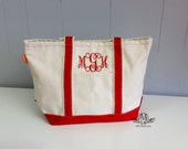 Monogrammed Canvas Tote Bag, monogram beach bag, boat tote, monogrammed gifts for her, womens gift, Personalized Bridesmaids Tote Bag