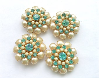 Huge Rhinestone & Pearl Buttons Set of 4 DIY Jewelry Design Sewing Vintage Fashion Accessory