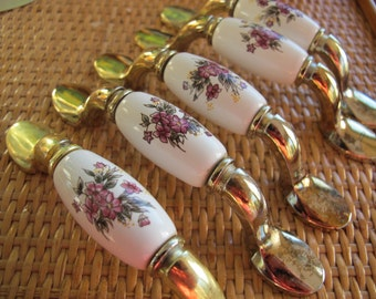Dark Pink flower drawer pulls (10 available) / china flower drawer pulls