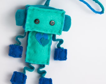 Rain the blue robot