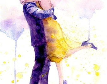 Romantic Couple Watercolor Painting Print - Kissing Couple - La La Land