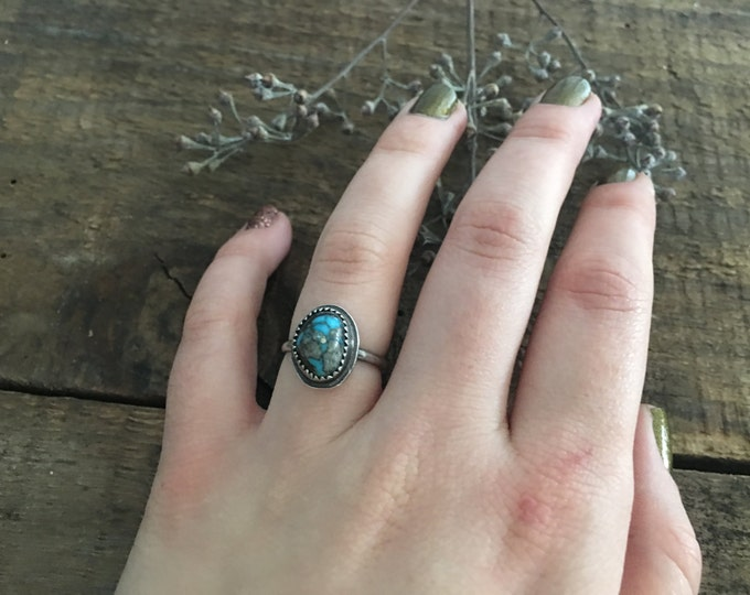 turquoise stacking ring, .925 sterling silver jewelry, unique engagement ring for bohemian wedding, anniversary present for wife, size 5