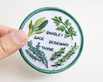 Herb Garden Iron On Patch - 7cm - Machine Embroidery - Scarborough Fair