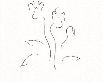 Original floral line art. Black and white ink drawing of flowers. Violets sketch.