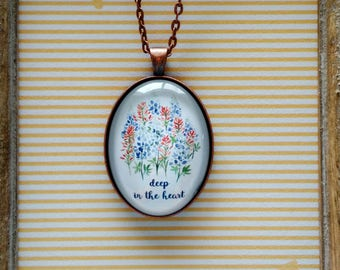 Deep in the heart of Texas Bluebonnet and Indian Paintbrush Glass Dome Pendant Necklace - Blue and Red Watercolor Flowers - Texan pride