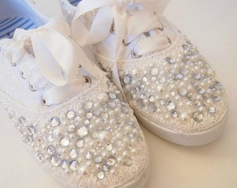 Wedding Bridal Sneakers Tennis Shoes - chic ivory or white lace - Rhinestone Pearls - eyelet trim - Shabby vintage inspired - diva bling