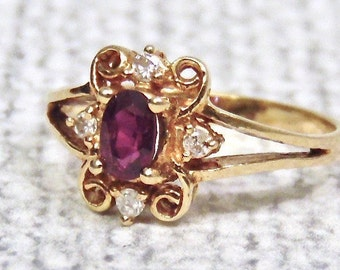 Sale! Vintage 14K Garnet and Diamond Ring, Yellow Gold, January Birthstone