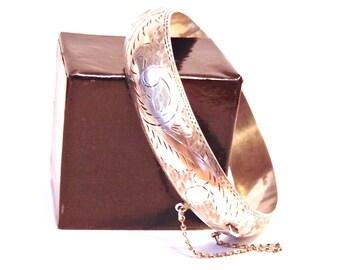 Vintage Sterling Silver Bangle Bracelet, 925, Hinged