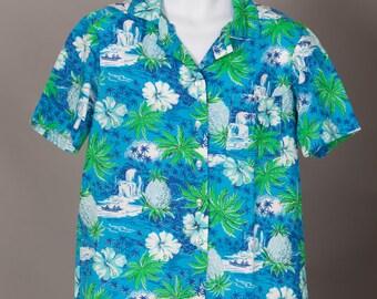 Vintage Homemade Hawaiian Shirt - tropical print