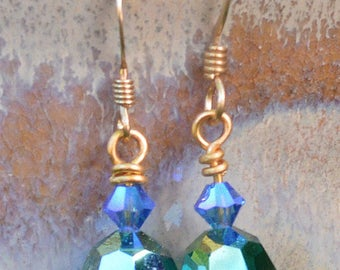 Swarovski Emerald & Sapphire Crystal Earrings