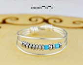 """Morse Code """"Sister"""" Ring- Your Choice of Color Beads and Silver, Rose, or Yellow Gold Filled Wire- Any Size-4,5,6,7,8,9,10,11,12,13,14"""