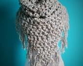 Crochet Triangle Scarf,Chunky Knit Scarf,Neck Scarf,Cowl Scarf,Neck Warmer,Neck Wrap,Super Soft,Unisex,Fringe,Grey,Brown,Tan,Fall,Winter