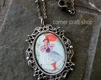 Haunted Mansion Stretching Picture Tightrope Walker Parasol Girl Alligator  Image Charm Pendant  Necklace