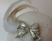Curled feather & bow silver tone diamante Hair Comb ~ Handmade with vintage materials~ something old ~ rhinestones ~ bridal ~ ombre feathers