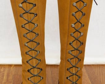 Vintage 1960's 70's Women's Suede Leather Studded Laced Go Go HiPPiE MOD BoHo Boots Shoes Size 7